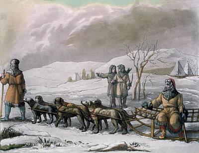 Men Of Kamchatska, With A Dog Sleigh Print by Italian School