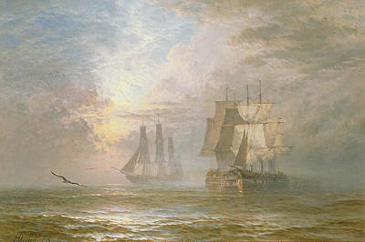 Men Of War At Anchor Print by Henry Thomas Dawson