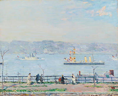 Childe Hassam Painting - Men O'war. The Blake And The Boston by Childe Hassam