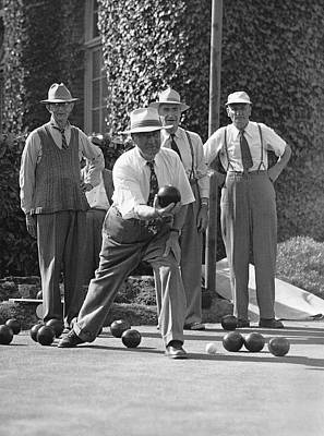 Aiming Photograph - Men Playing Bocce Ball by Underwood Archives