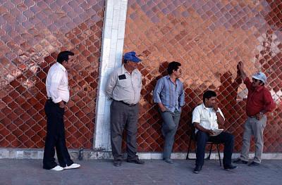 Men Talking Print by Mark Goebel