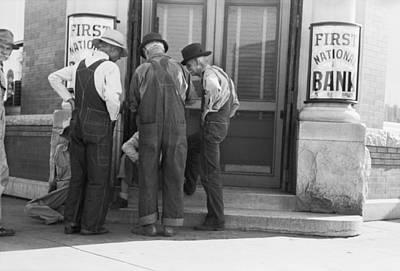 Men Talking On Bank Steps Print by Russell Lee