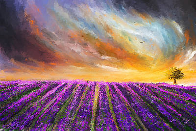Menacing Beauty - Lavender Fields Paintings Print by Lourry Legarde