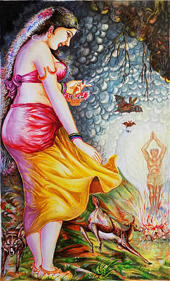 Hindu Goddess Drawing - Menaka On Verge Of Breaking Vishwamitra Meditation by Arun Sivaprasad