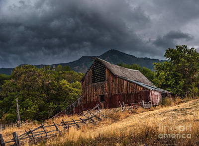 Mendon Utah Barn In Storm Print by Gary Whitton