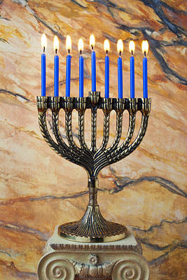 Pedestal Photograph - Menorah With Blue Candles by Garry Gay