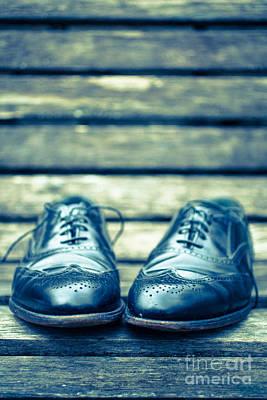 Men Shoe Photograph - Men's Dress Shoes On Park Bench by Edward Fielding