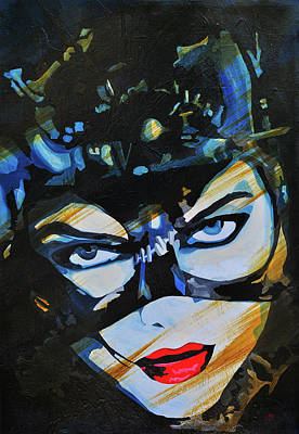 Catwoman Painting - Meow Catwoman by Brad Jensen