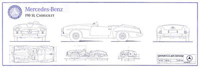 Mercedes 190sl Cabriolet Blueprint Print by Jon Neidert