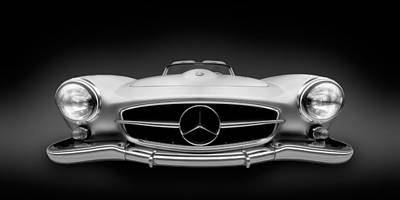 Mercedes Photograph - Black And White Photography - Mercedes Benz 190sl Roadster - German Vintage Car by Alexander Voss