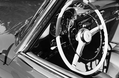 Antique Car Photograph - Mercedes-benz 190sl Steering Wheel by Jill Reger