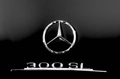 Mercedes Benz 300 Classic Car Photograph - Mercedes-benz 300 Sl Emblem -0121bw by Jill Reger