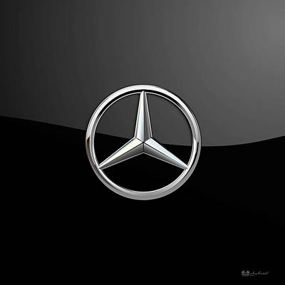 Mercedes-benz - 3d Badge On Black Print by Serge Averbukh