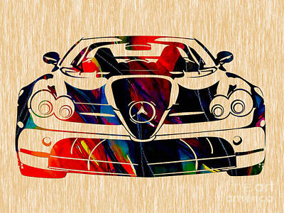 Mercedes Benz Painting Print by Marvin Blaine