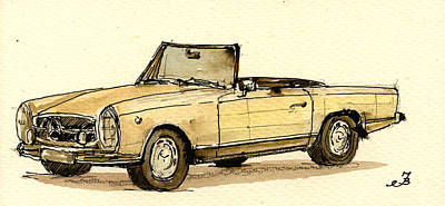 Mercedes Sl Print by Juan  Bosco