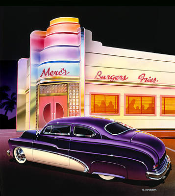 Illumination Photograph - Mercs Burgers by Bruce Kaiser