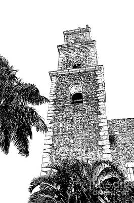 Mexico Digital Art - Merida Mexico Grande Plaza Cathedral Tower Black And White Digital Art by Shawn O'Brien