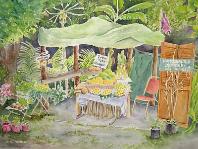 Fruit Stand Painting - Merizo Fruit Stand by Kathleen Rutten