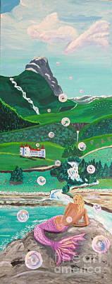 Norwegian Waterfall Painting - Mermaid   16 By 40 by Phyllis Kaltenbach