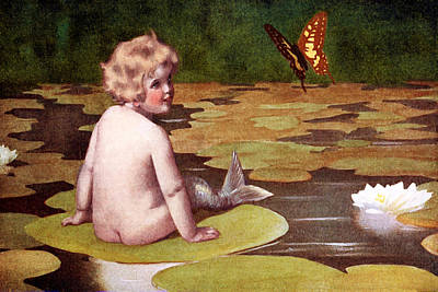 Mermaid Painting - Baby Mermaid And Butterfly On Lily Pond - At The Beach America by Private Collection