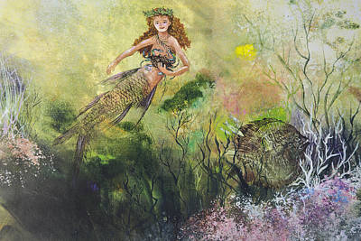 Mermaid And Friends Print by Nancy Gorr