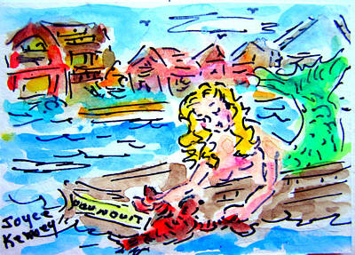 Ogunquit Beach Painting - Mermaid And Maine Lobster by Joyce  Kenney