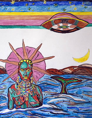 Yoruba Painting - Yemoja Ufo  by Stormm Bradshaw