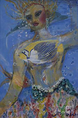 Angel Mermaids Ocean Painting - Mermaid by Avonelle Kelsey