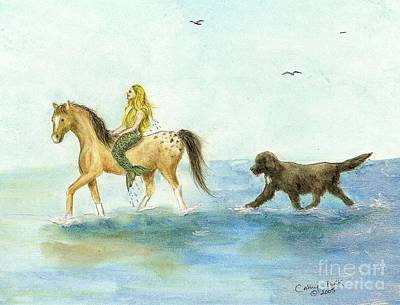 Newfie Painting - Mermaid Horse Newfoundland Dog Surf Cathy Peek Art by Cathy Peek