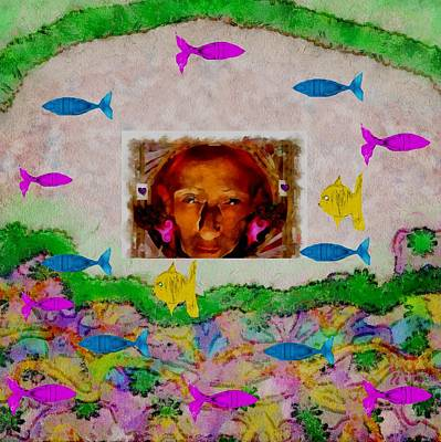 Abstract Seascape Mixed Media - Mermaid In Her Cave by Pepita Selles