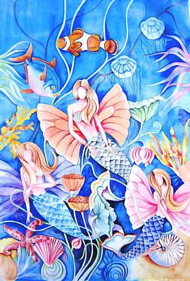 Silk Painting - Mermaid by Manisha Singh