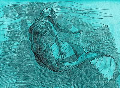 Whistler Drawing - Mermaid Musing by Whistler Kenworthy