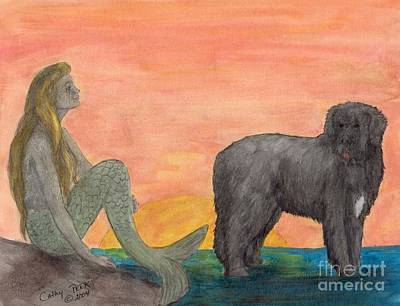 Newfie Painting - Mermaid Newfoundland Dog Sunset Cathy Peek Art by Cathy Peek