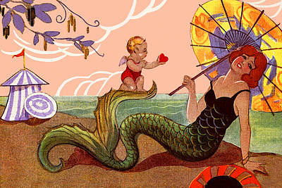 Sky Painting - Mermaid On Beach With Cupid - At The Beach America by Private Collection