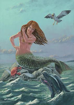 Dolphins Digital Art - Mermaid On Rock by Martin Davey
