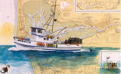 Mermaid Prawn Fishing Boat Nautical Chart Map Art Print by Cathy Peek