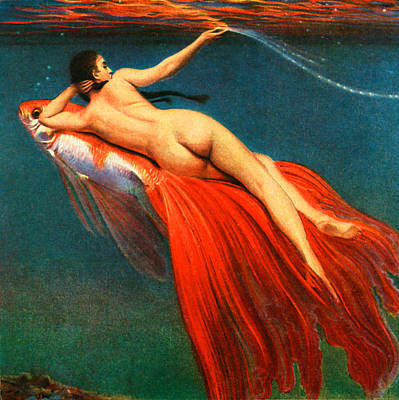 Mermaid Painting - Mermaid Riding A Goldfish - At The Beach America by Private Collection