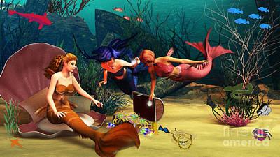 Mermaid Digital Art - Mermaid Treasures by Methune Hively