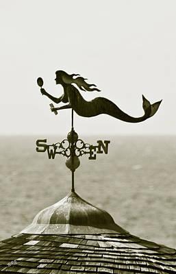 Weathervane Photograph - Mermaid Weathervane In Sepia by Ben and Raisa Gertsberg