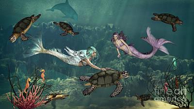 Seahorse Digital Art - Mermaids At Turtle Springs by Methune Hively