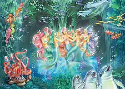 Mermaid Photograph - Mermaids Danicing by Zorina Baldescu