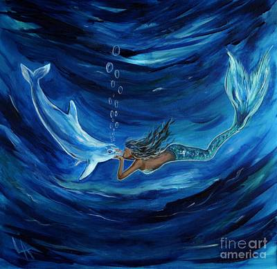 Little Mermaid Painting - Mermaids Dolphin Buddy by Leslie Allen