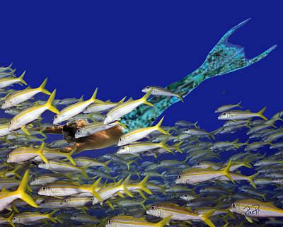 Angel Mermaids Ocean Photograph - Merman by Paula Porterfield-Izzo