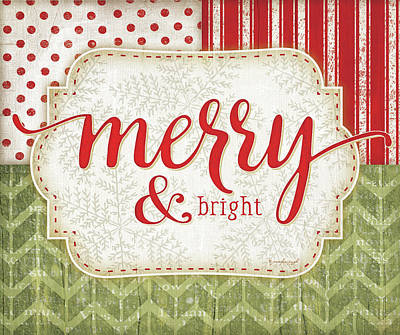 Christmas Painting - Merry & Bright by Jennifer Pugh