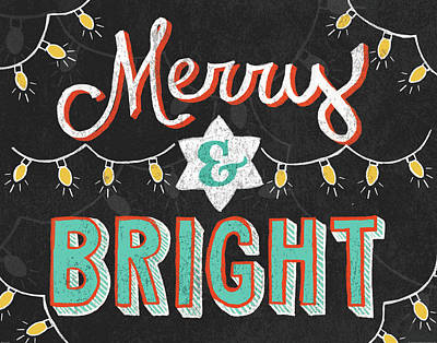 Merry And Bright Black Print by Mary Urban
