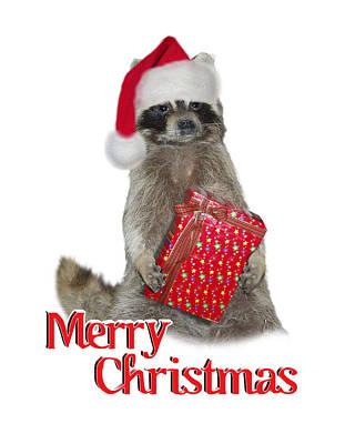 Raccoon Digital Art - Merry Christmas -  Raccoon by Gravityx9 Designs
