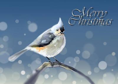 Titmouse Digital Art - Merry Christmas - Tufted Titmouse by Arie Van der Wijst