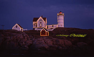 Merry Christmas At Nubble Print by Skip Willits