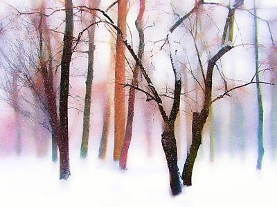 Winter Trees Digital Art - Merry Christmas Card by Jessica Jenney
