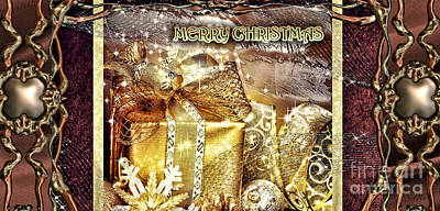 Merry Christmas Gold Print by Mo T